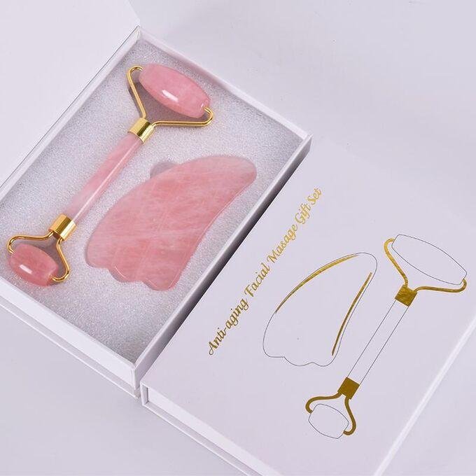 набор роллер и скребок гуаша из розового кварца для массажа лица