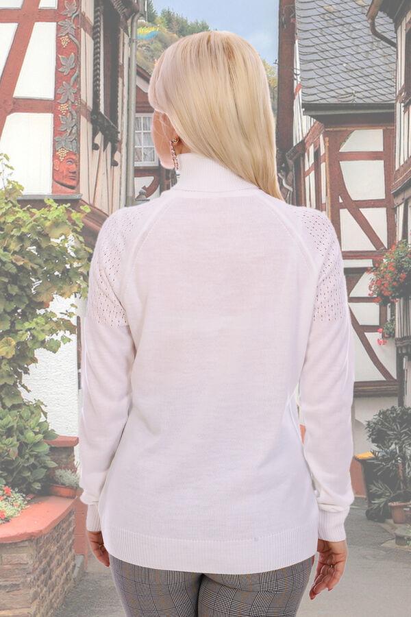 Водолазка Натали: Ткань: вязаный трикотаж  Состав: 30% шерсть, 70% акрил Водолазка с двойным высоким воротником, полуприлегающего силуэта, мелкой трикотажной вязки, плечи украшены ажурным рисунком, по