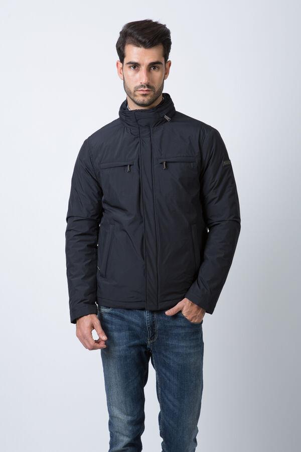Демисезонная мужская куртка Hermzi с ПОТАЙНЫМ КАПЮШОНОМ, цвет Темно-синий и Темно-серый