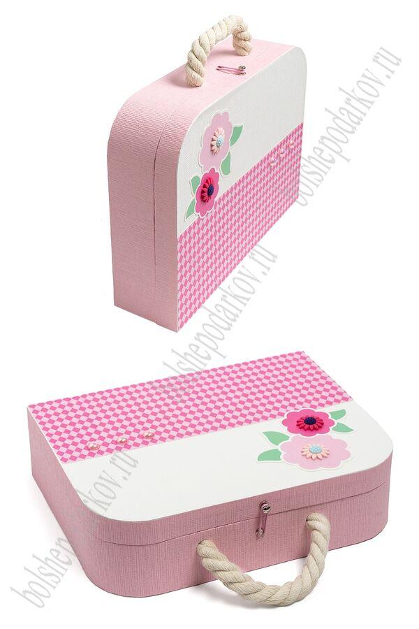 Подарочная коробка-чемоданчик 30,5*23,5*8,3 см (SF-5676) розовый