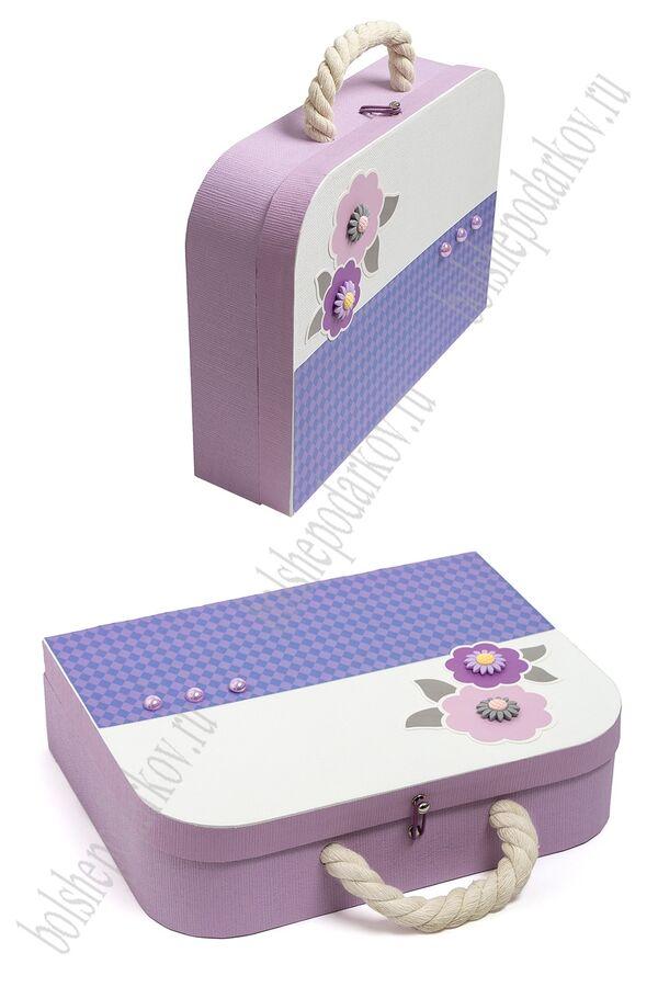 Подарочная коробка-чемоданчик 30,5*23,5*8,3 см (SF-5676) сиреневый