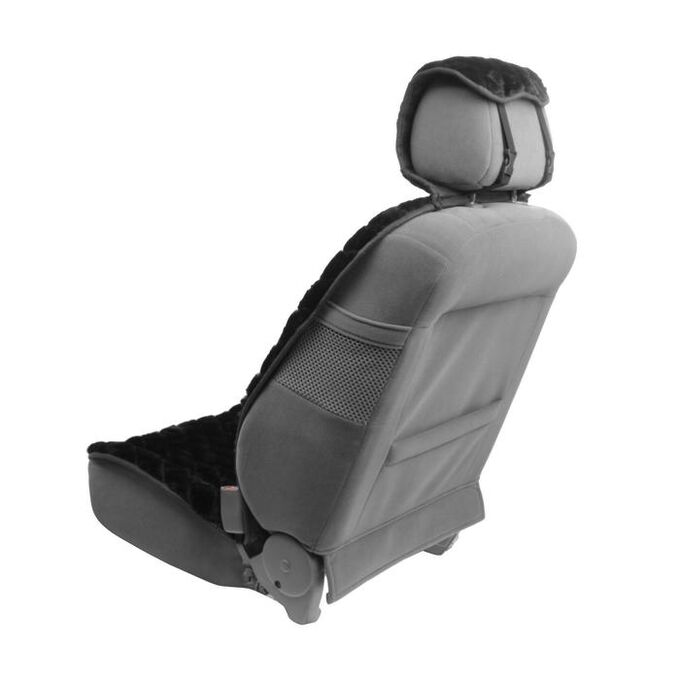 Накидка на переднее сиденье, искусственный мех, ромб, размер 55 х 150 см, черный