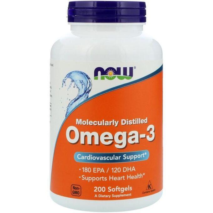 Омега 3 (Рыбий жир) NOW Omega-3 1000 мг - 200 капсул