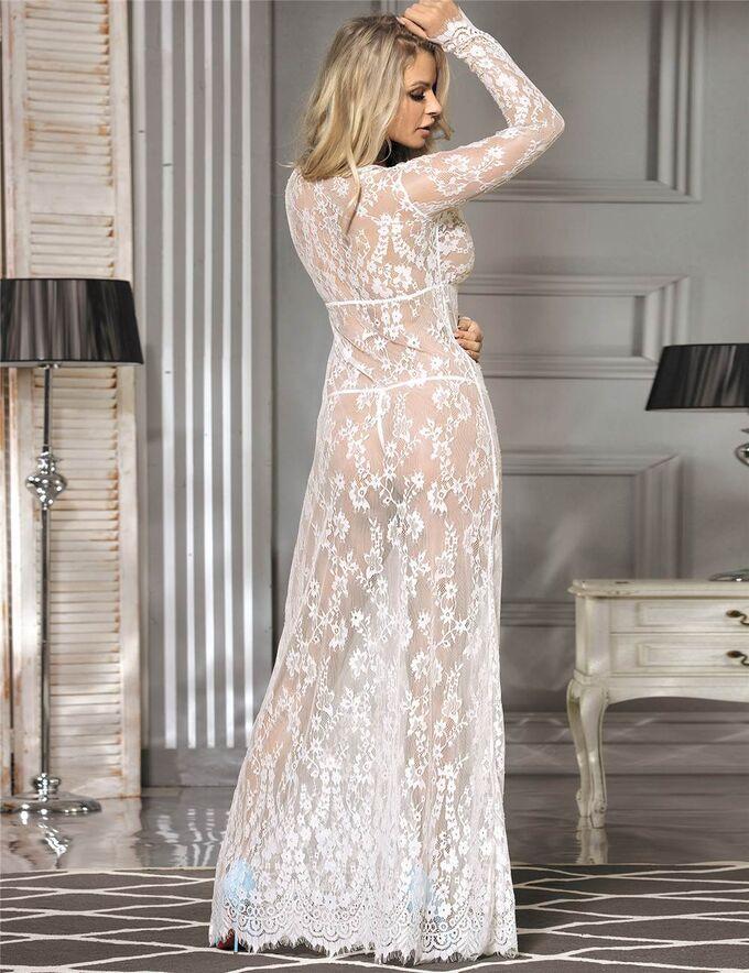 Кружевное пижамное платье с длинными рукавами