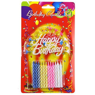 """Свечи для торта 7см """"С днем рождения"""" набор 12 штук, цветные"""