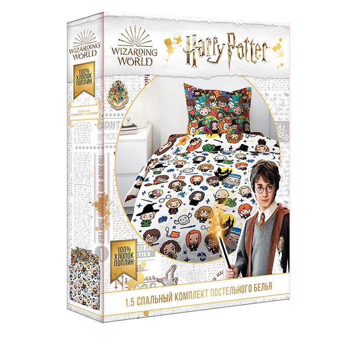 "КПБ 1.5 поплин ""Гарри Поттер"" (70х70) рис. 16332-1/16333-1 Волшебный мир"