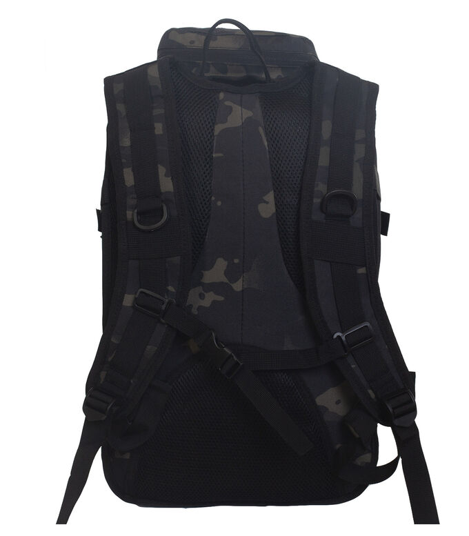 Тактический рюкзак камуфляжа Black Multicam (30-35 л) (CH-059) №120 - Регулируемые, широкие, мягкие лямки оснащены системой MOLLE, имеют жесткие D-образные карабины для крепления фонаря, фляги, ножа и