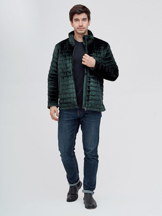 Куртка велюровая классическая Valianly темно-зеленого цвета 93352TZ