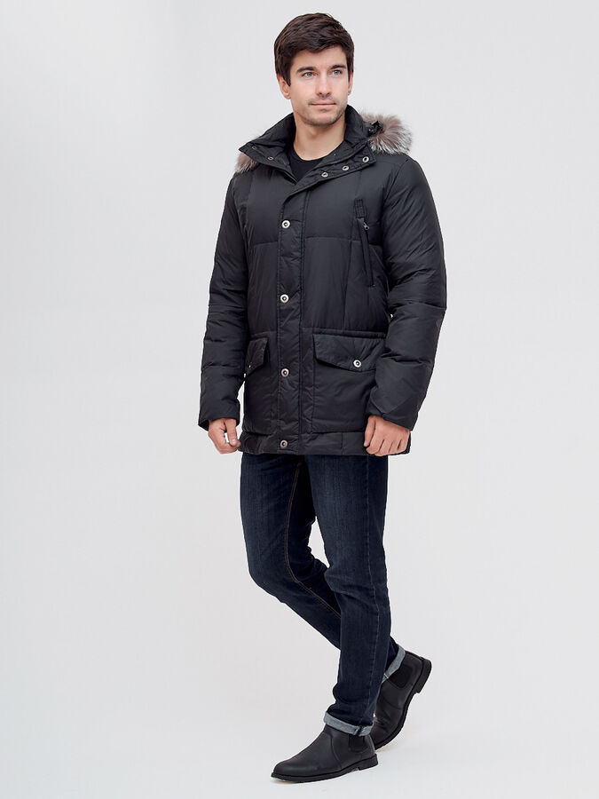 Пуховик чернобурка Valianly черного цвета 8035Ch