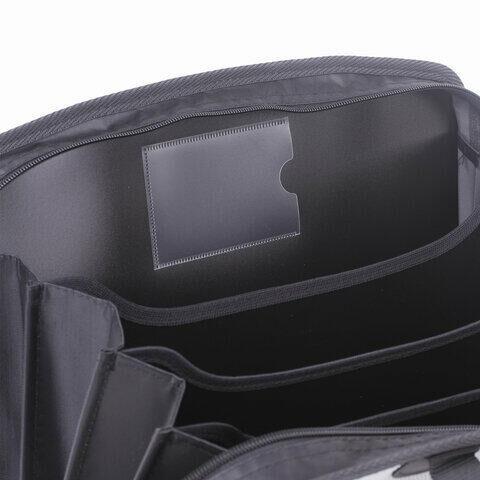 Папка-портфель пластиковая BRAUBERG А4+ (375х305х60 мм), 4 отделения, 2 кармана, серая, 228685