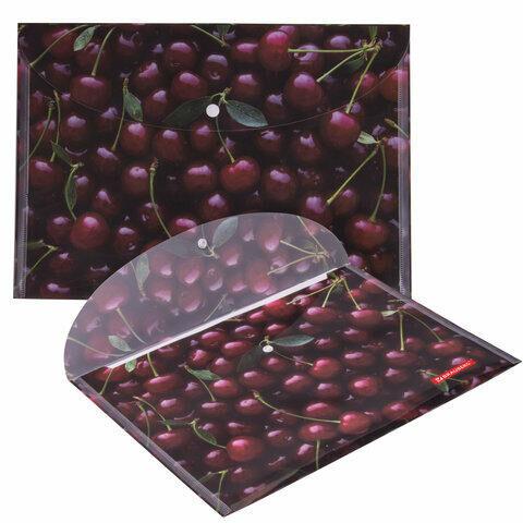 """Папка-конверт с кнопкой BRAUBERG """"CHERRY"""", А4, 160 мкм, до 100 листов, цветная печать, 228037"""