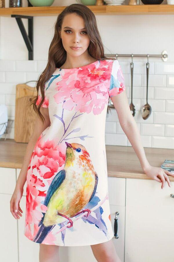 Платье Материал: плотная неэластичная ткань INTY.. Состав:55% полиэстер, 35% вискоза,10%спандекс. Цвет: как на фото, размеры 42-56. Длина от талии до низа юбки 54 см. Длина рукава: короткий, матер