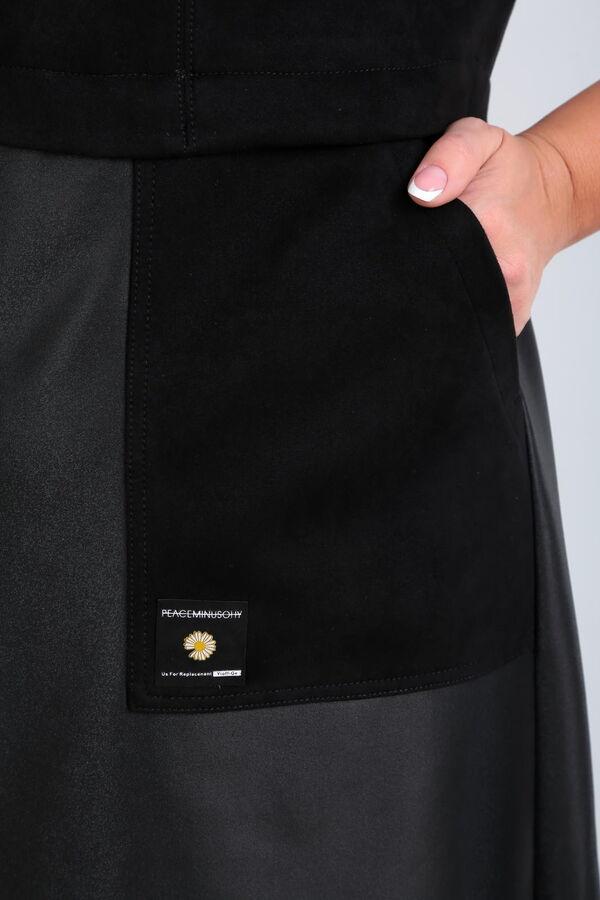 Сарафан Рост: 164 см. Состав ткани: полиэстер – 100% Сарафан женский, А-силуэта, из двух видов ткани. Верхняя часть сарафана и карманы из трикотажного полотна (замша), нижняя из искусственной кожи. Го