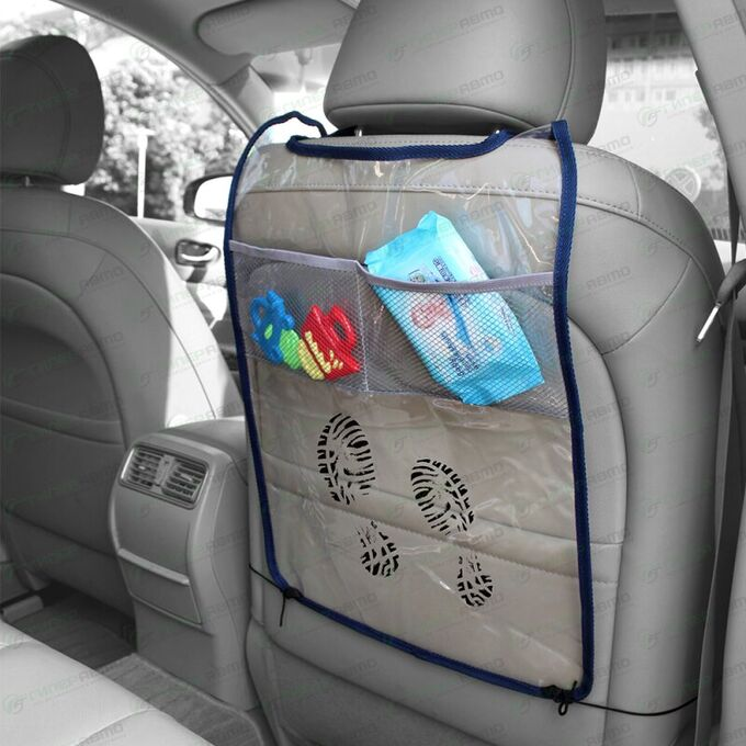 Органайзер CARFORT CUBE 5 на спинку сиденья для защиты от детских ног, прозрачный, размер 580x380мм