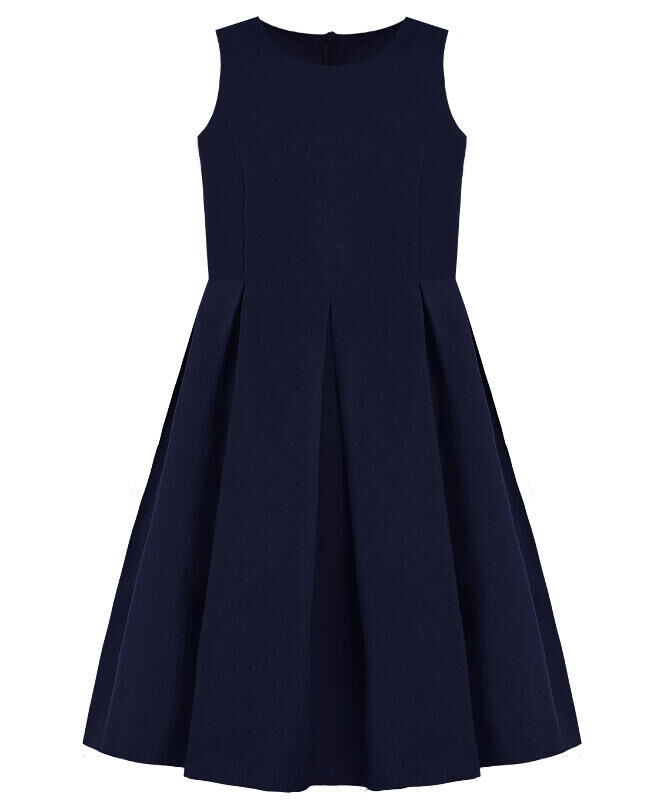 Синий сарафан для девочки школьного фасона Цвет: синий