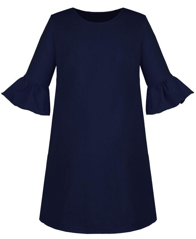 Синее платье для девочки с воланами Цвет: тёмно-синий