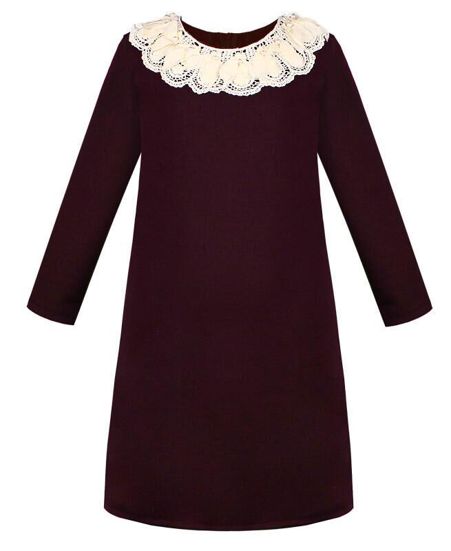 Бордовое школьное платье с кружевным воротником Цвет: Бордовый