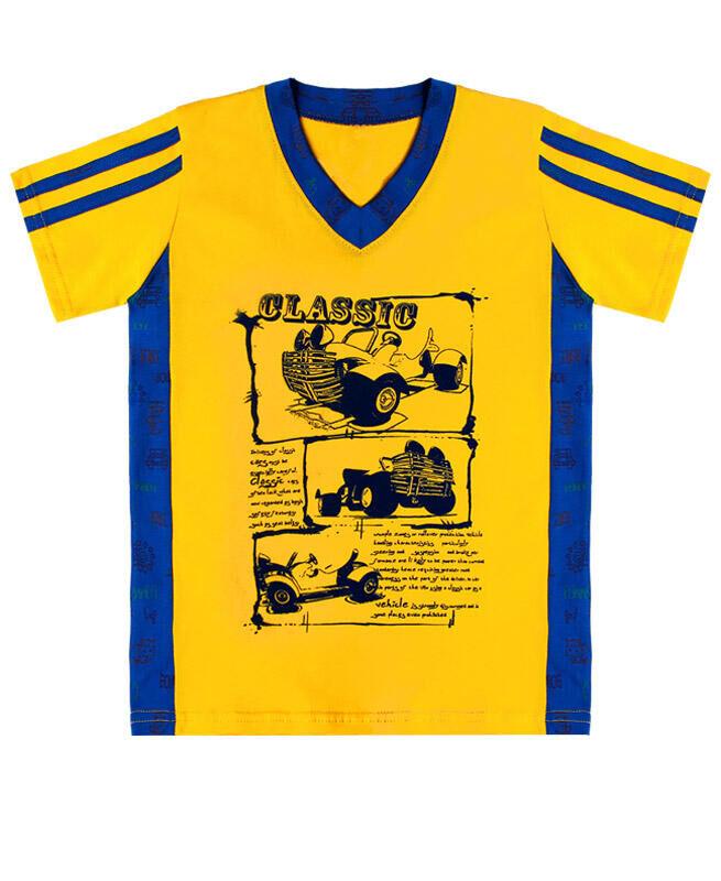 Желтая футболка для мальчика Цвет: желтый+синий