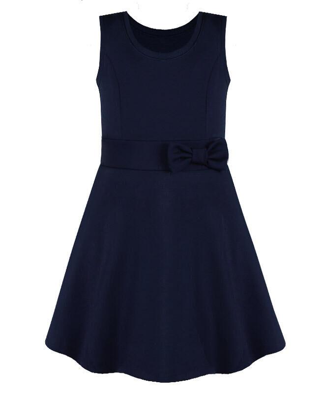 Синий школьный сарафан для девочки с бантом Цвет: синий