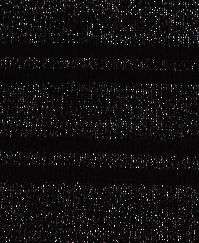 Чёрная водолазка с люрексом для девочки в полоску Цвет: черный