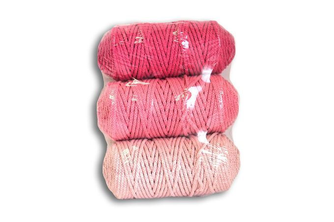 Набор шнуров полиэфирных 3мм (св.розовый, розовый, +яр розовый)