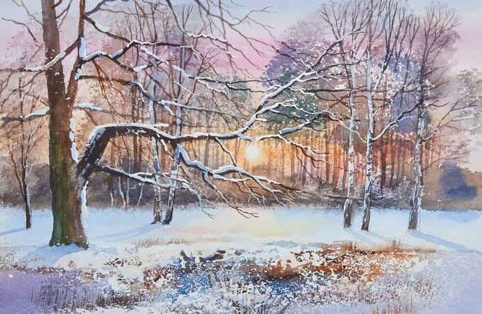Зимние сюжеты акварелью. Как нарисовать снежную сказку
