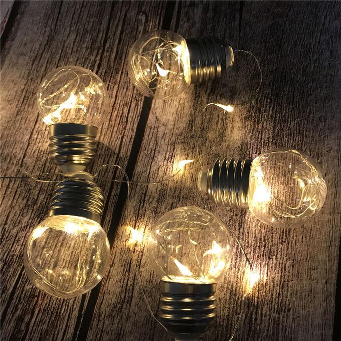 """Светодиодная гирлянда на солнечной батарее """"Желтая"""" / 20 лампочек, 6 м"""