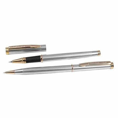 Набор PIERRE CARDIN (Пьер Карден): шариковая ручка + ручка-роллер, корпус серебристый, латунь, PC0801BP/RP, синий