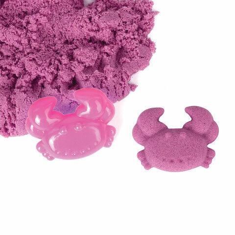 Песок для лепки кинетический ЮНЛАНДИЯ, розовый, 500 г, 2 формочки, ведерко, 104997