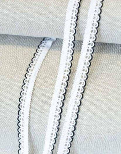 Кружево цв.белый/черный, 11мм, хлопок-90%, п/э-10%