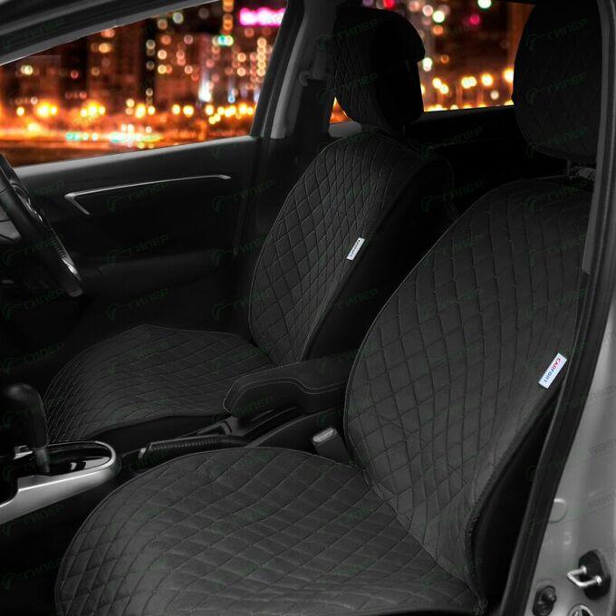 Чехлы-накидки CARFORT SHAMMY для передних сидений, велюр, черный цвет, комплект 2шт