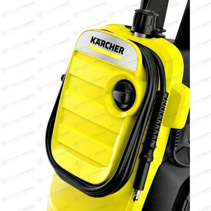 Мойка высокого давления Kärcher K4 Compact, 220В, 1.8кВт, 130бар, 420л/ч, длина шланга 6м, с насосом для забора воды, на колёсах, арт. 1.637-310.0/1.637-500.0