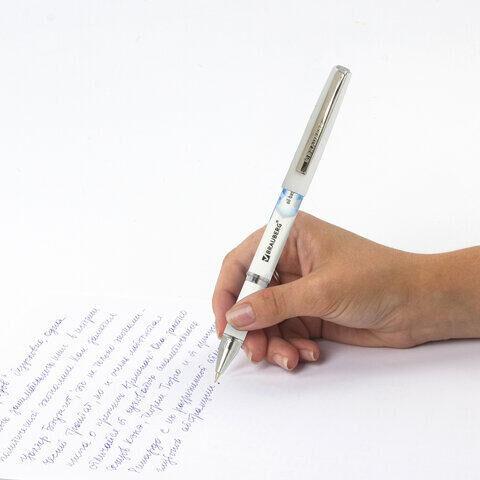 """Ручка шариковая масляная с грипом BRAUBERG """"Roll-X"""", СИНЯЯ, корпус белый с печатью, узел 0,7 мм, линия письма 0,35 мм, 143008"""