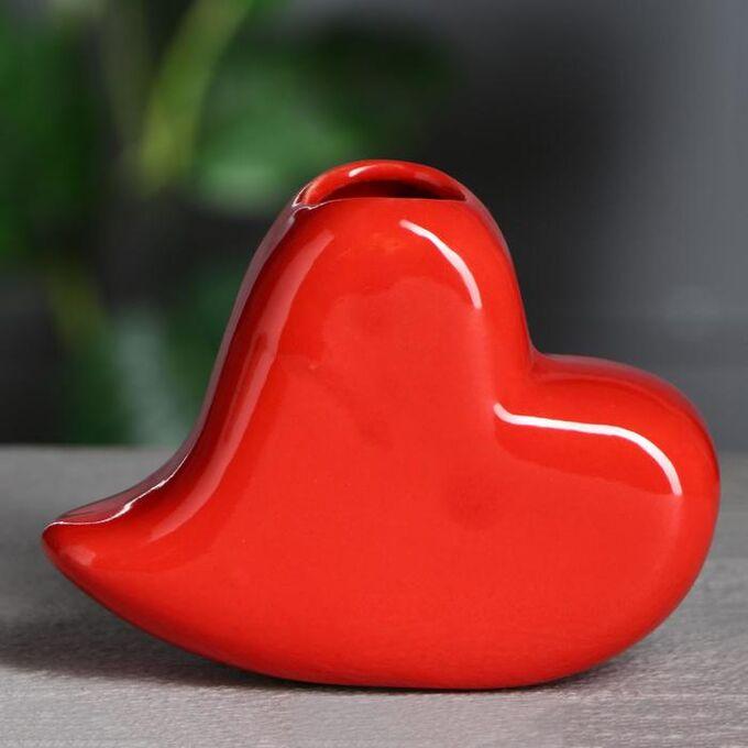 """Ваза настольная """"Сердце"""" красное, 9 см, керамика"""