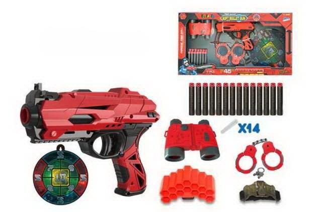 Набор игровой Бластер красно-черный с аксессуарами и мягкими снарядами 14 шт798