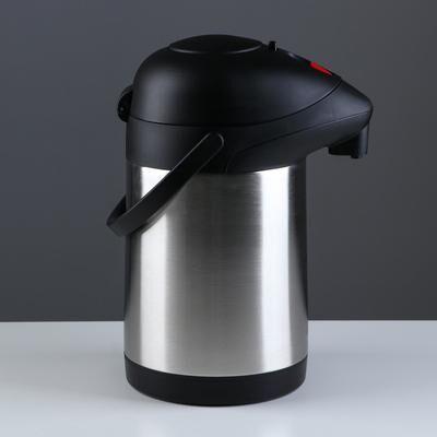 Термос с помпой, 2.5 л, 24 ч, крышка со вставкой, хром