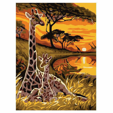 """Картина по номерам 15х20 см, ЮНЛАНДИЯ """"Саванна"""", на холсте, акрил, кисти, 662505"""