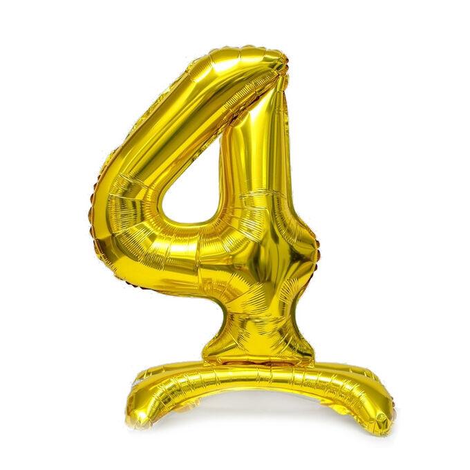 """Шар ЦИФРА 4 32"""" на подставке золото 80 см /К"""