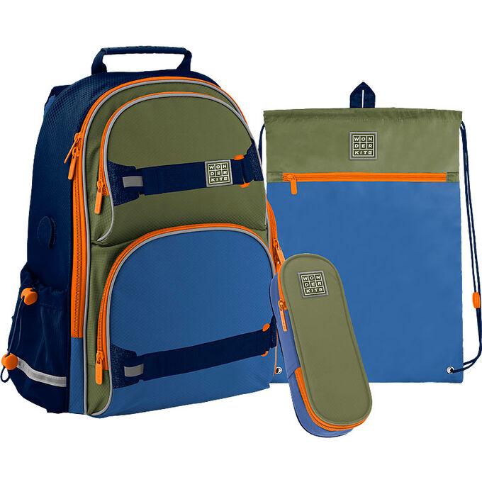 Набор рюкзак + пенал + сумка для обуви WK 702 сине-зелёный