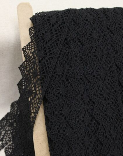 Кружево цв.черный, ш.57мм, хлопок-90%, п/э-10%