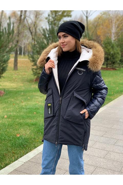 Женская зимняя куртка С16 темно-синяя