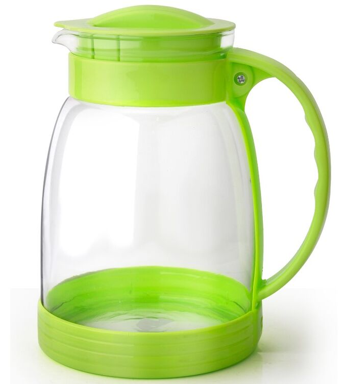 Кувшин Кувшин стеклянный 2л зеленый TM Appetite Объем, л./размер, см: 2 л Материал: термостойкое стекло Торговая марка: Appetite Тип упаковки: цветная коробка Крышка: пластмассовая термостойкое стекло