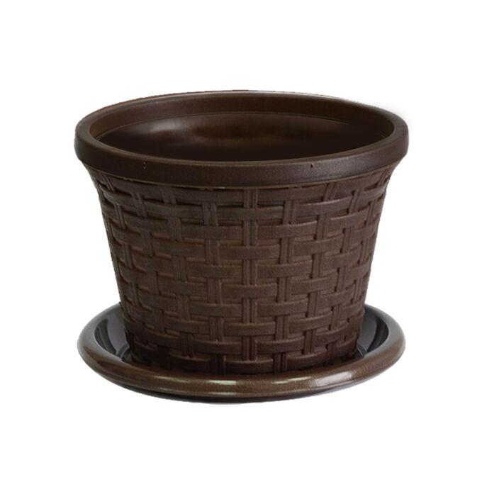 Кашпо «Ротанг» круглое 1,1л с поддоном, цвет коричневый 152 x 152 x 118 мм