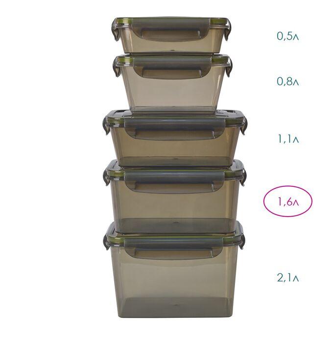 Контейнер герметичный прямоугольный 1,6л (дымчатый) 140 x 200 x 95 мм