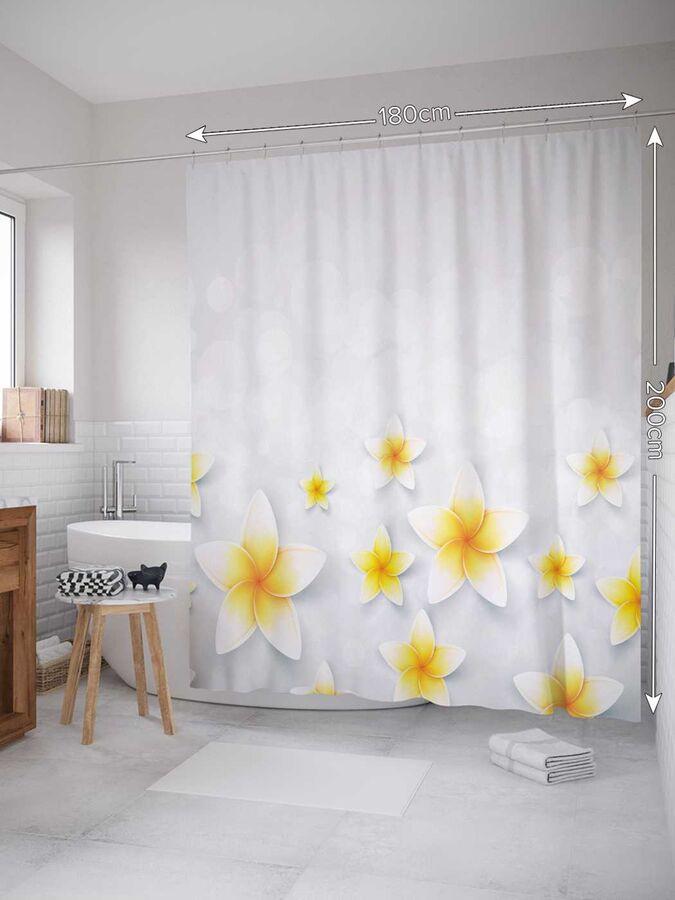 Штора (занавеска) для ванной «Домашняя свежесть» из ткани, 180х200 см с крючками