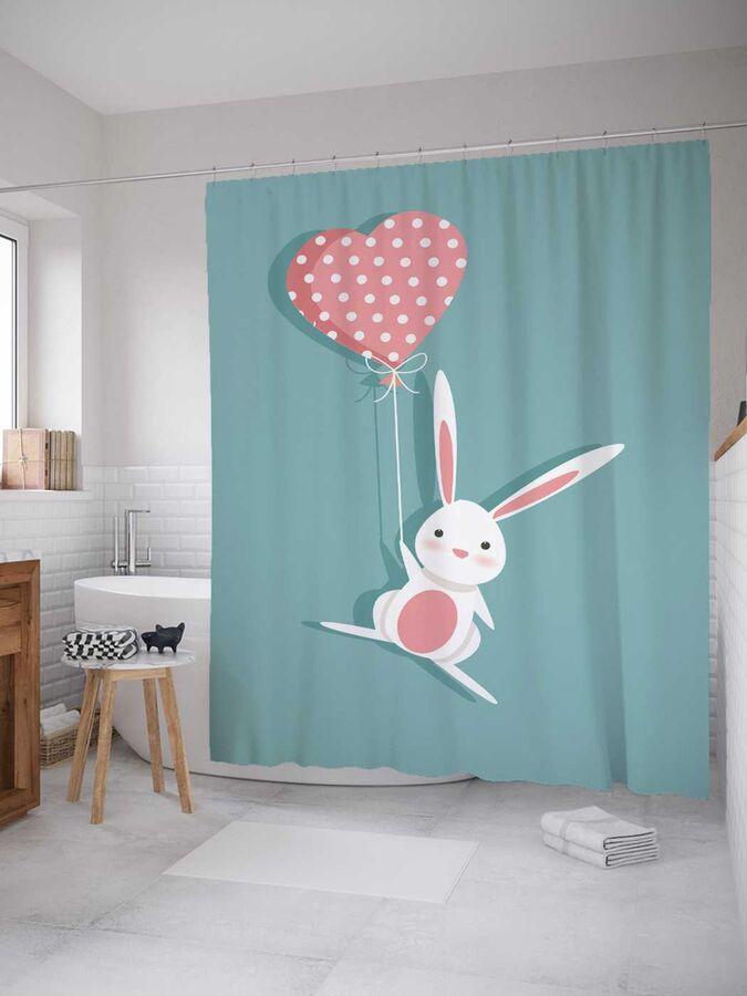 Штора (занавеска) для ванной «Влюбленный кролик с шариком» из ткани, 180х200 см с крючками