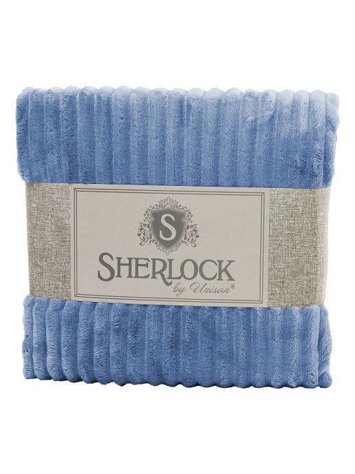 "Плед микрофибра рельеф ""Sherlock"" 180х200 небесный"