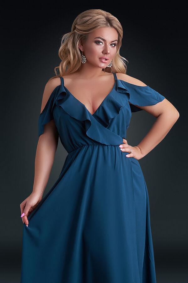 Платье бутылочного цвета с декольте на запах
