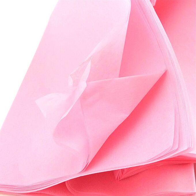 Бумага тишью (папиросная) 50*65см 10 листов цвет розовый