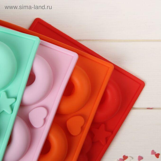 Форма для выпечки Доляна «Немецкий кекс. Пончик и Ромашка», 25,5?17,5 см, 6 ячеек, цвет МИКС